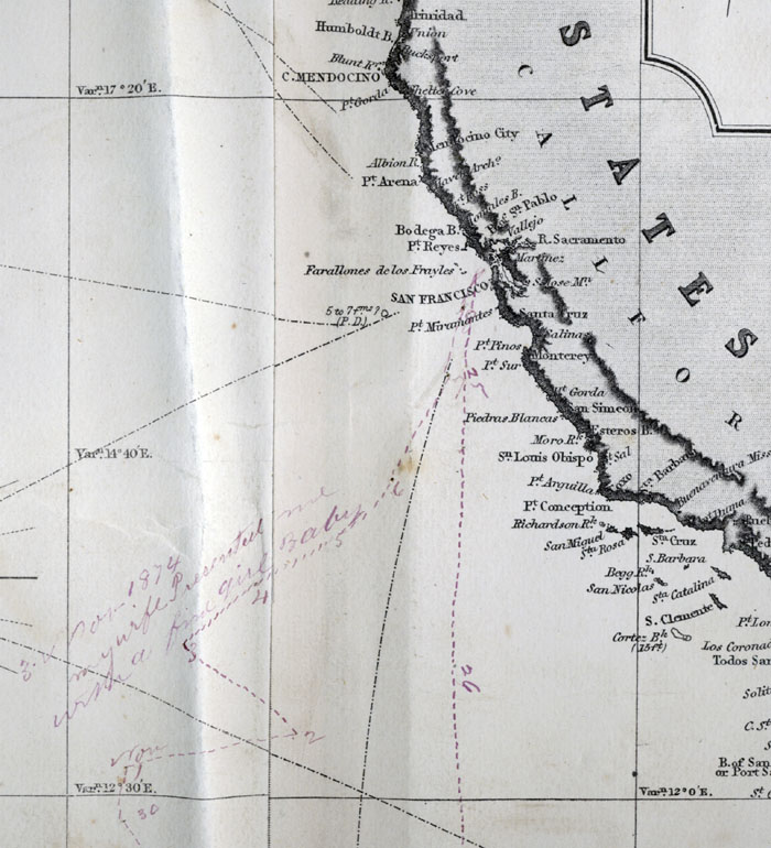 Chart detail of North Pacific Ocean, noting birth of baby