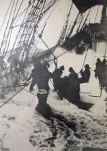Crew Working on Deck in a Storm