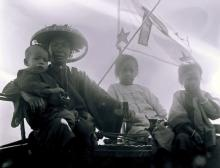 Crew of sampan in Hong Kong