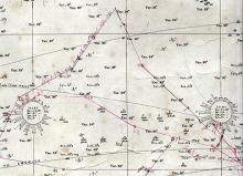 North Atlantic Chart Showing Ship Track