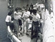 Raising anchor on windjammer